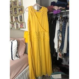 Yellow Bedazzled Linen Maxi